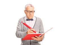 成熟老师文字某事在笔记本 库存图片