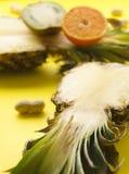成熟自然菠萝,orsnge,明亮的晴朗的表面上的猕猴桃垂直的射击  免版税图库摄影