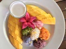 成熟芒果和黏米饭在椰奶 免版税库存图片