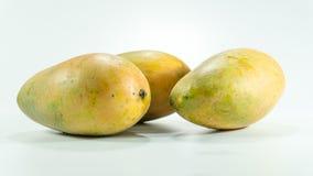 成熟芒果在白色背景中 免版税库存图片
