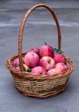 成熟苹果的篮子 免版税库存图片