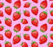 成熟草莓无缝的样式 免版税图库摄影