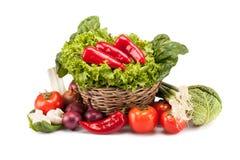 成熟菜充分的篮子  免版税库存图片