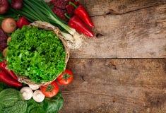成熟菜充分的篮子  免版税图库摄影
