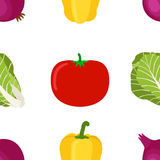 成熟菜的无缝的样式从庭院的 染黄胡椒 免版税库存照片