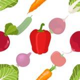 成熟菜的无缝的样式从庭院的 红辣椒, 免版税库存照片