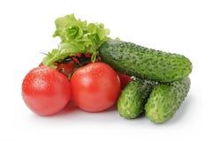 成熟被隔绝的蕃茄黄瓜和莴苣 图库摄影