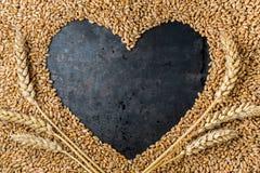 从成熟金黄麦子种子的灰色金属心脏  免版税库存照片