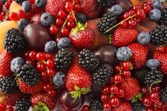 成熟黑莓、黑莓、草莓、红浆果、桃子和李子 混合莓果和果子 顶视图 背景berri 图库摄影
