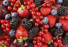 成熟黑莓、黑莓、草莓、红浆果、桃子和李子 混合莓果和果子 顶视图 背景berri 免版税图库摄影