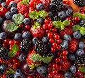 成熟黑莓、黑莓、草莓、红浆果、桃子和李子 混合莓果和果子 顶视图 背景berri 免版税库存图片