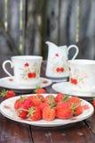成熟,开胃草莓在白色板材驱散了 库存图片
