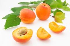 成熟,水多和开胃杏子结果实与绿色叶子 图库摄影