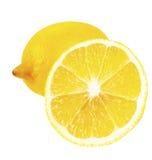 成熟整个柠檬和半 免版税图库摄影