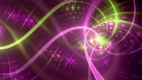 成螺旋形在右边与一个复杂被交织的样式和轻的迷离,全部的在光亮的桃红色,绿色 库存照片