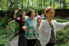 成都跳舞前辈的瓷公民 库存图片