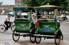成都,中国:Pedicab出租汽车 库存图片