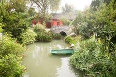 成都-在池塘的小船 图库摄影