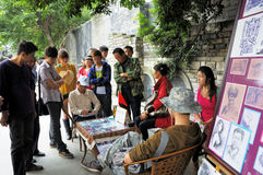 成都Kuan胡同的民间艺术家  库存照片