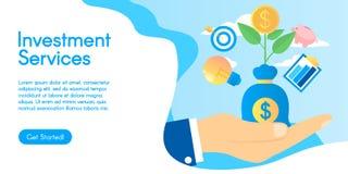 成长动力学或财政活动概念 投资服务的概念,在平的设计的传染媒介例证 免版税图库摄影
