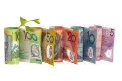 成长和澳大利亚金钱 免版税图库摄影
