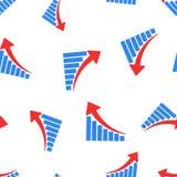 成长曲线图无缝的样式背景 企业概念vecto 库存照片