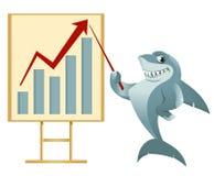 成长曲线图 做介绍的动画片鲨鱼 免版税库存图片