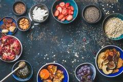 成份健康早餐,拷贝空间,食物框架 免版税库存图片