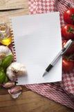 成份:与拷贝空间的意大利食物食谱的 免版税库存照片