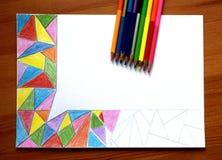 我与色的铅笔的未完成的抽象图画 库存图片