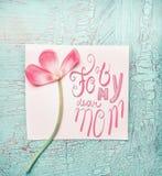 我亲爱的妈妈的可爱的桃红色花绿松石破旧的别致的背景的,顶视图 日花产生母亲妈咪儿子 图库摄影