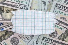 100我们与空白纸的新的美元 库存照片