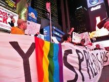 我们仍然死的一团援助抗议NYC 2017年11月29日 库存照片