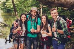 我们喜欢!四个激动的朋友打手势象标志,摆在为在晴朗的夏天密林木头的画象,微笑,结合 Ha 免版税图库摄影