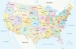 我们州际公路,行政和政治传染媒介地图 库存照片