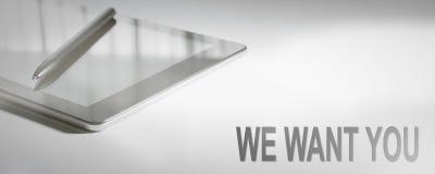 我们想要您企业概念数字技术 免版税库存照片
