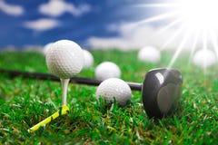 我们打高尔夫球! 库存照片