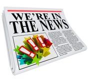 我们是在新闻报纸大标题条款上 免版税图库摄影