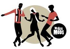 我们是Mods 穿在20世纪60年代Mod样式dancin的两个人和女孩剪影减速火箭的衣裳 向量例证