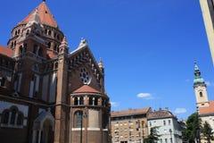 我们的匈牙利的夫人奉献的教会和大教堂是一个双spired天主教大教堂在塞格德,匈牙利 它说谎  图库摄影
