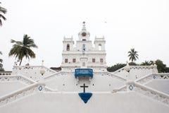 我们的圣母无染原罪瞻礼的夫人教会在帕纳吉, goa, 图库摄影