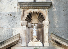 我们的圣Michaels教会门户的夫人在Korcula,克罗地亚 图库摄影