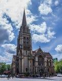 我们的夫人和英国受难者教会 在1890年完成,这个大哥特式复兴天主教会以古老维尔京3月为特色 免版税图库摄影