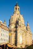 我们的夫人德累斯顿Frauenkirche逐字地教会是一个路德教会在德累斯顿,德国 库存照片