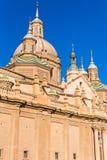 我们的夫人柱子-天主教堂,萨瓦格萨,西班牙大教堂大教堂  特写镜头 垂直 免版税库存照片