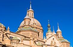 我们的夫人柱子-天主教堂,萨瓦格萨,西班牙大教堂大教堂  特写镜头 免版税库存照片