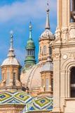 我们的夫人柱子-天主教堂,萨瓦格萨,西班牙大教堂大教堂  特写镜头 免版税库存图片