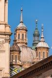 我们的夫人柱子-天主教堂,萨瓦格萨,西班牙大教堂大教堂  特写镜头 库存图片