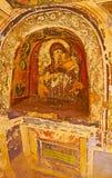 我们的夫人,圣凯瑟琳修道院,西奈, E古老壁画  库存照片