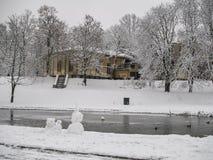 我们的家美好的多雪的风景前面  免版税库存照片